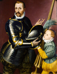 Armed gentleman with pageboy