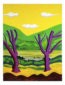 Purple Trees with Yellow Sky