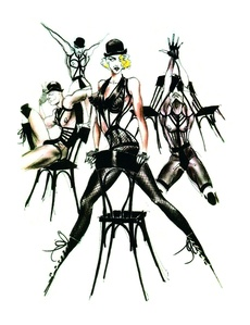 Sketch of Madonna's stage costumes for her Blond Ambition World Tour