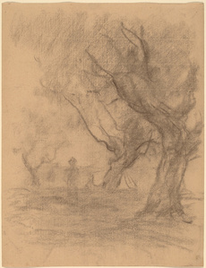 Woman Standing beneath Two Trees