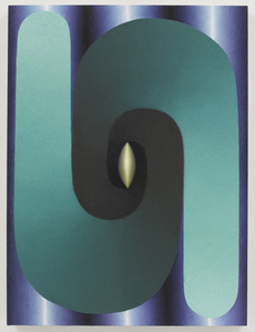 Stacked Lingam (teal, blue, purple, yellow)