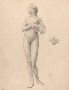 Standing Nude Woman Holding a Box
