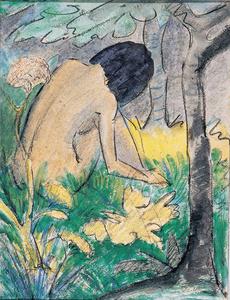 Kauerndes Mädchen im Walde,