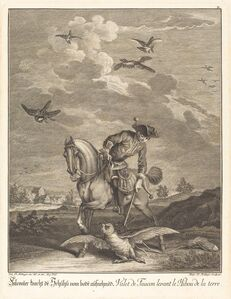 Falconeer Lifting an Owl from the Ground
