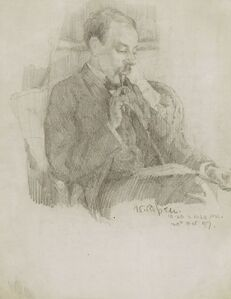 A SEATED MAN, SMOKING A PIPE AND READING A BOOK: A MAN IN PROFILE HOLDING A PIPE