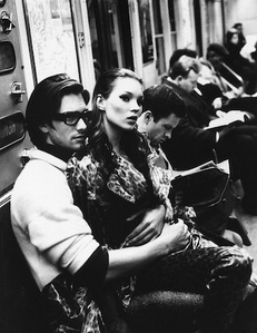 Kate Moss and Marcus Schenkenberg on the C train, New York, Italian Harper's Bazaar