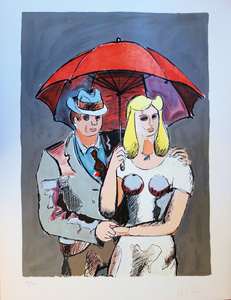 Hat Man and Blond Hair girl with Red Umbrella