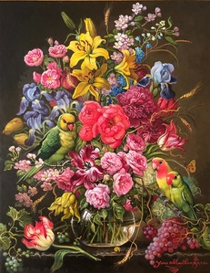 Floral with Lorikeet and Love Birds