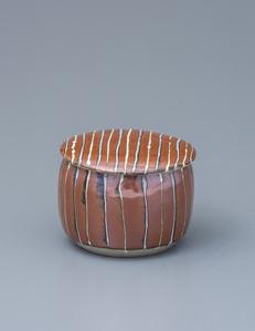 Lidded container, kaki glaze