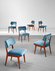 Unique set of six dining chairs, designed for Casa Cirio, Turin
