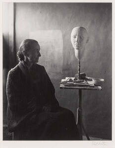 Georgia O'Keeffe with bust by Mary Callery, Ghost Ranch, NM
