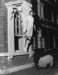 Untitled (Model Flying from Window)