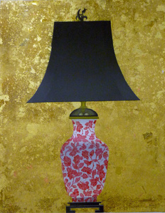 Lamp I (Coral and White Floral Base)