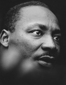 Martin Luther King Portrait in front of the UN Building,  New York City, NY - April 15, 1967