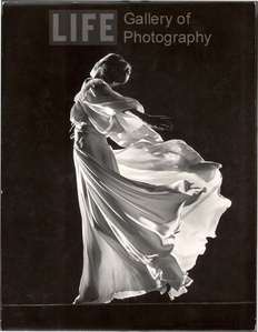 Model with Billowing Light Colored Sheer Nightgown and Peignoir (Face not Seen)