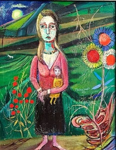 Woman and Child in Surreal Landscape