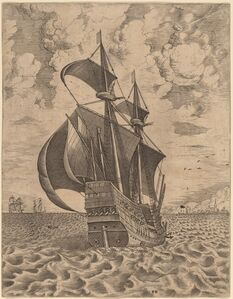 Armed Four-Master Sailing towards a Port