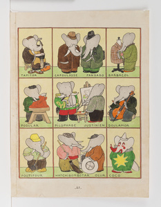 """All the Elephants have Chosen a Trade,"" published Illustration for Babar the King"