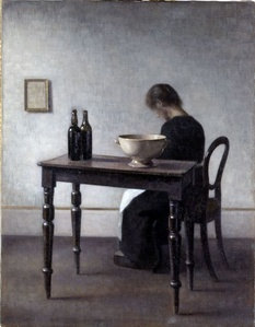 Vilhelm Hammershøi, Interior with Woman Sitting at a Table