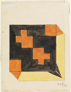 Design for a Box in Orange, Black, and Yellow  (recto); Design for Box  in Orange, Green, and Yellow (verso)