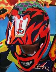 Head in helmet