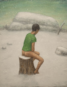 Man in Snow (Green Shirt)