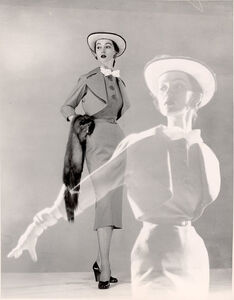 Double Exposure, Model Spring Dress, Hat with Veil, Carrying Fur Scarf