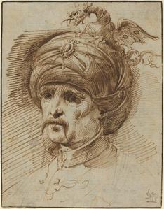 Oriental in a Fantastic Headdress