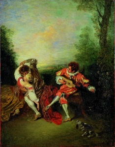 La Surprise: A Couple Embracing While a Figure Dressed as mezzetin Tunes a Guitar