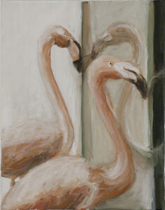 Flamingos in the window