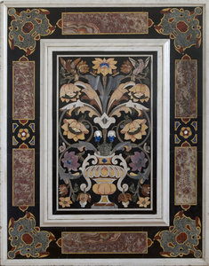 A pair of pietra dura panels, depicting a flower bouquet in a vase