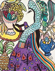 Femme a la coupe de fruits