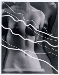 Electricité  [Image of Lee Miller with photograms of ribbons representing electric current ]