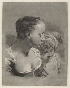 Young Woman and a Boy Facing Right