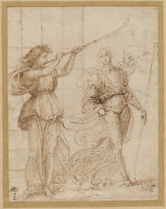 An Angel Blowing a Trumpet, and Another Holding a Standard