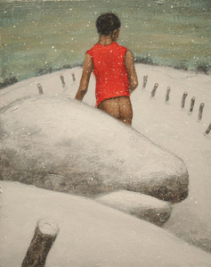 Man in Snow (Red Shirt)