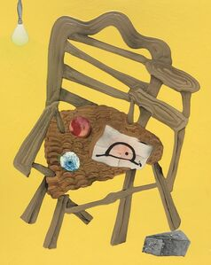 Wooden Chair With Yellow Background