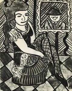 Man in window looking at girl in black net stocking