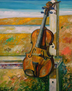 A Viola & a Drawing Stand in Field