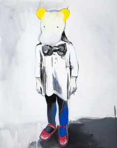 Girl with yellow-white mask