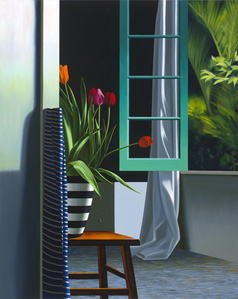 Interior with Tulips in Striped Vase with Striped Scarf