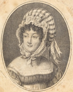 Head of a Woman Wearing a Striped Bonnet