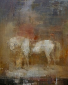White horse in a stable after Sir Edwin Henry Landseer