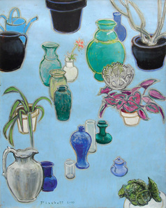 Still Life with Black Pots (on blue)