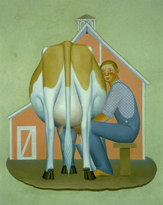 Boy Milking Cow