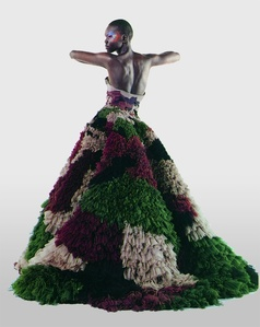 "Untitled (Alek Wek) Numéro, March 2000 (""Dubar"" gown from Jean Paul Gaultier's ""Romantic India"" women's spring-summer haute couture collection of 2000) Photograph by Karl Lagerfeld"