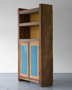 Standing buffet in wood with painted doors and shelves in yellow and blue