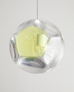 """Large """"Dodecahedron"""" Chandelier and Optical Instrument with One Yellow Lens"""