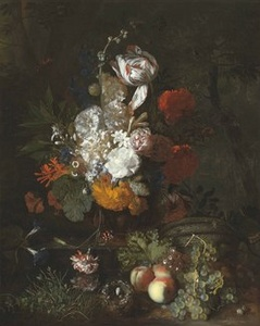 A still life with flowers and fruits with a bird's nest and eggs