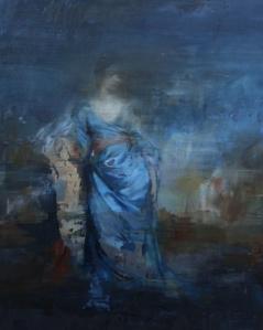 Portrait of a Woman in Blue Silk